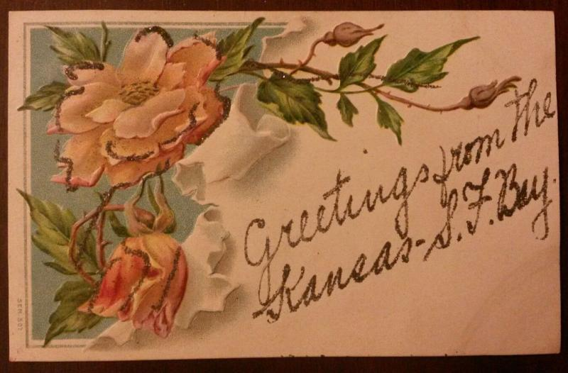 Greetings from Kansas-San Francisco Bay~Roses with Glitter Added~c1910 Embossed