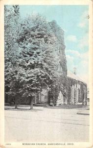 Uhrichsville Ohio Moravian Church Street View Antique Postcard K15526
