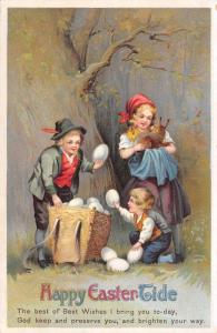 Clapsaddle Easter~Country Children in Woods Find Rabbit~Egg Basket~Emboss~IAPC