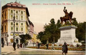 Genova Italy Plazza Corvetto Unused Vintage Postcard D73