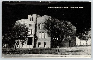 Jackson Minnesota~Public School @ Night~Pitch Black Sky~1917 Postcard