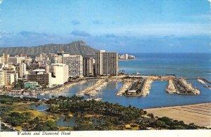 WAIKIKI & DIAMOND HEAD Ala Moana Park Ala Wai Yacht Harbor 1974 Vintage Postcard