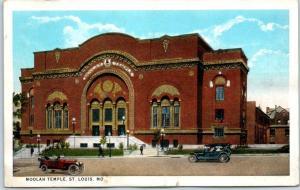St. Louis, Missouri Postcard MOOLAH TEMPLE Street View Curteich c1930s Unused