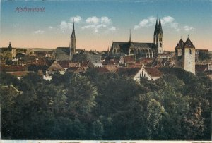 Germany Postcard Halberstadt cityscape panorama