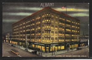 Albany Hotel at Night Denver Colorado Unused c1910s