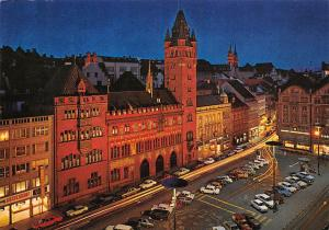 Basel Bale Marktplatz mit Rathaus, Market Place and Town hall by Night Cars