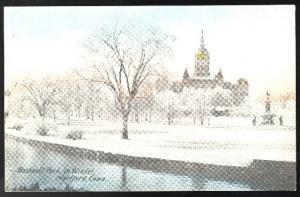 Hartford CT Bushnell Park in Winter Vintage S H Havens Postcard Tinted