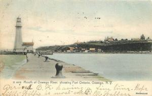 1908 Lighthouse Mouth Oswego River Fort Ontario New York hand colored 4756