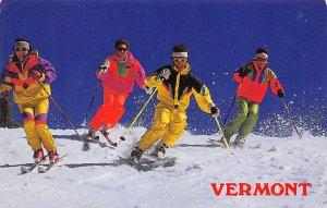 Snow Skiing Postcard 4 Men Coming Down the Mountain Vermont, USA Unused