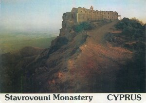 Postcard Cyprus stavrovouni monastery church tower fortress castle palace hill