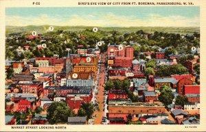 West Virginia Parkersburg Birds Eye View From Fort Boreman Curteich