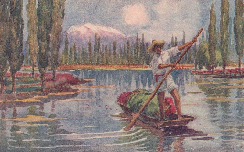 River Boat at Chapultepec Castillo Y Lago Mexico Old Painting Postcard