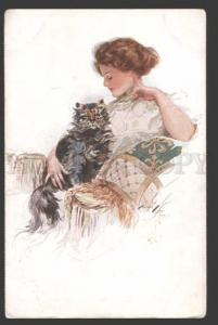 115014 BELLE Lady KITTY by Harrison FISHER Russian Rishar RARE
