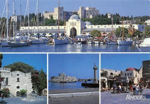 Greece Rhodes Port Bateaux Harbour Boats General view Promenade