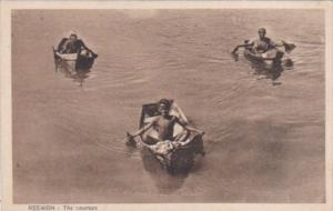 Egypt Asswan The Courses Young Boys In Boats On The Nile