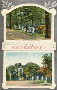 Mt Hope Cemetery Rochester New York Indian Trail Avenue and Entrance pm 1909 DB