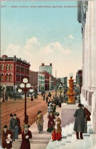 Seattle WA Third Avenue from Post Office from 'E.C. Carson' Postcard F57