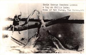 Van Buren AR~Uncle George Meadows Looses Leg @ Hollis Lake~Exaggerated Fish~RPPC