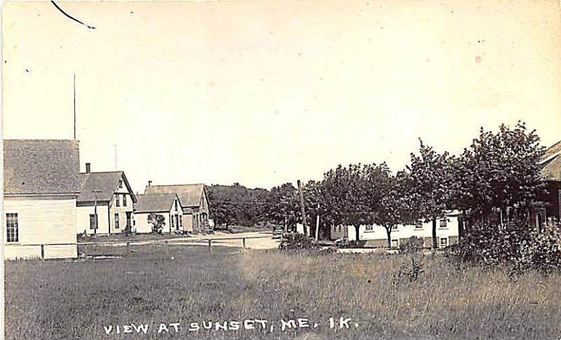 Sunset ME Street View RPPC Real Photo Postcard
