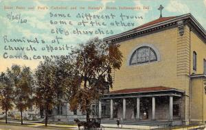 Indianapolis Indiana St Peter Paul Cathedral Bishop Home Postcard K106056