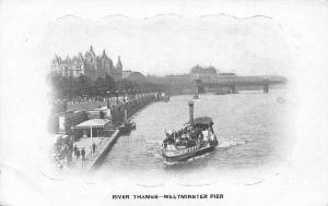 London River Thames Westminster Pier River Boat Bridge Panorama Postcard