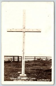 Cross Village Michigan~Father Marquette's Cross Overlooking Lake~1939 RPPC