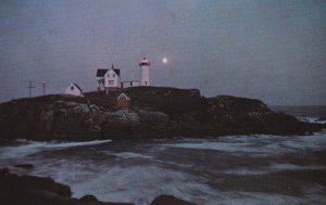 YORK, Maine, 1950-1960's; Nubble Lighthouse By Moonlight