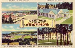 GREETINGS FROM QUODDY VILLAGE, ME. four views incl. the Hospital & Kittery Apts.
