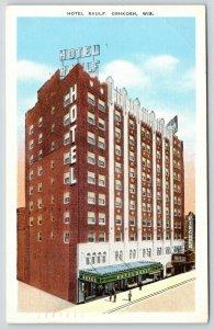 Oshkosh Wisconsin~Hotel Raulf~Fischer Theatre Marquee~1940s Linen Postcard