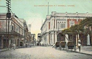 HAVANA CUBA~OLD OBISPO STREET~NOW PI Y MARGALL (SPANISH POLITICIAN)1909 POSTCARD