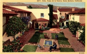Santa Barbara, California - The Patio at Paseo de la Guerra - in the 1940s