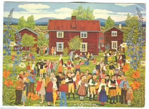Folk Musician meeting, painting by Stina Sunesson, Tallberg Folk-musicians, 1974