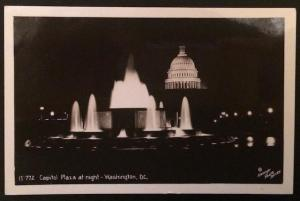 Capitol Plaza at Night Washington DC 15-772 Real Photo