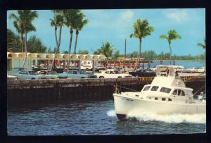 Boynton Beach, Florida/FL Postcard, View Of Dock Area, Old Cars