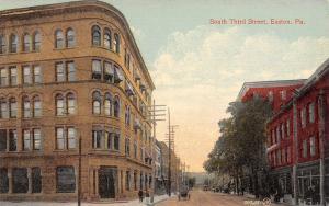 Easton Pennsylvania~South Third Street~Trust Company Corner~c1912 Postcard