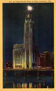 Ohio Columbus Le Veque-Lincoln Tower At Night Curteich