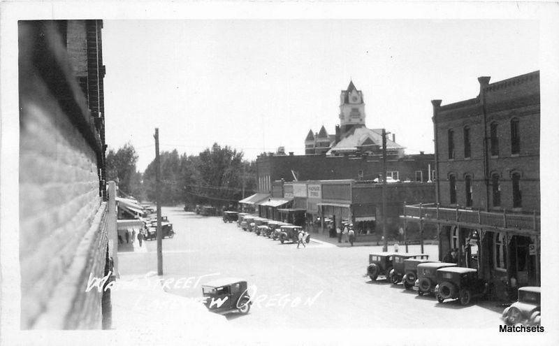 1940s LAKEVIEW OREGON Water Street automobiles RPPC postcard 9908