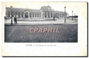 Old Postcard Mons Railway Station And The Souare