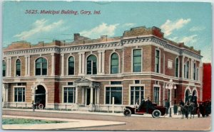 Gary, Indiana Postcard Municipal Building City Hall, Street View 1912 Cancel