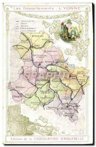 Old Postcard geographical maps of Chocolaterie & # 39Aiguebelle Yonne Clock d...