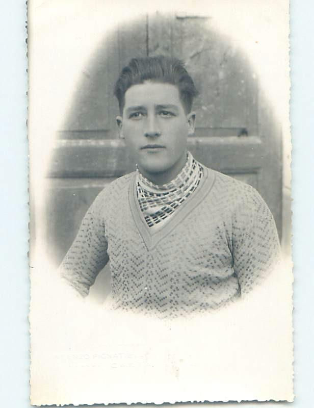 old rppc HANDSOME YOUNG MAN IN SWEATER - GAY INTEREST HM1247