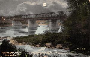 Amsterdam New York~Mohawk River Bridge~Night View~Full Moon Parts Clouds~1912 PC