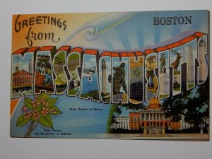 Vintage 1940s GREETINGS FROM MASSACHUSETTS Large Letters Postcard