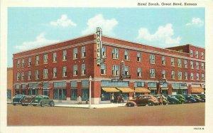 Automobiles Hotel Zarah Great Bend Kansas Postcard Teich 20-1579