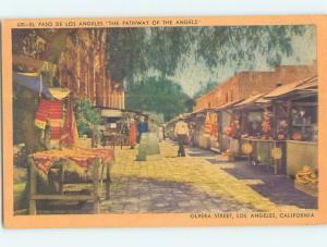 Linen VENDORS ON OLVERA STREET Los Angeles California CA Q9766