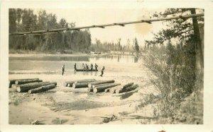 1920s Logging Lumber Jacks log rolling River Swing Bridge PC Photo Postcard 8741