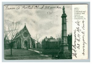 Grace Cathedral and Soldiers' Sailors' Monument, Davenport IA c1906 Postcard K3