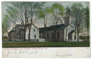 Indian Island, Maine, Vintage Postcard View of Indian Convent and Church, 1908