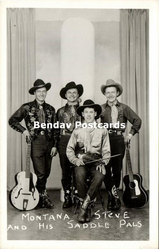 canada, Montana Steve and His Saddle Pals, Country Music Band (1940s) RPPC