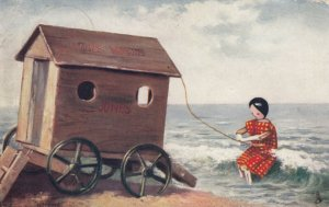 Dressed Stick Doll pulling Ladies Bathing carriage, PU-1904; TUCK # 6494